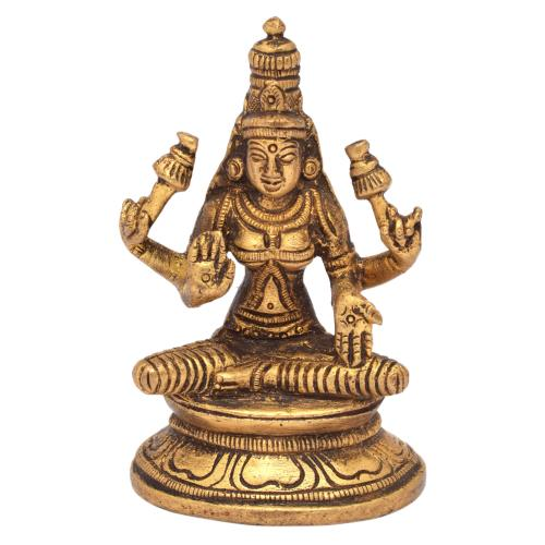 BRASS SCULPTURE LAKSHMI SITTING ON BASE