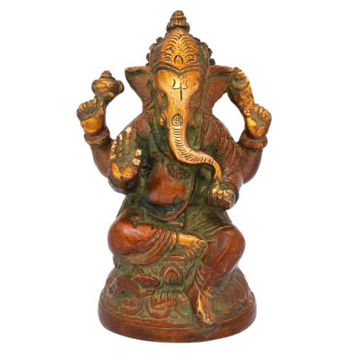 BRASS SCULPTURE GANESHA SITTING AQ
