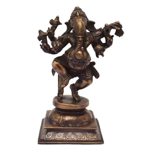 BRASS SCULPTURE GANESHA DANCING ON BASE AQ