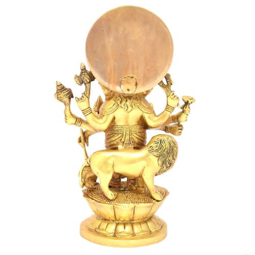 BRASS GANESHA STANDING WITH 8 HANDS AND LION