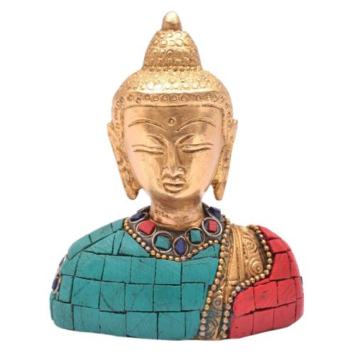 BRASS BUDDHA BUST WITH STONE WORK
