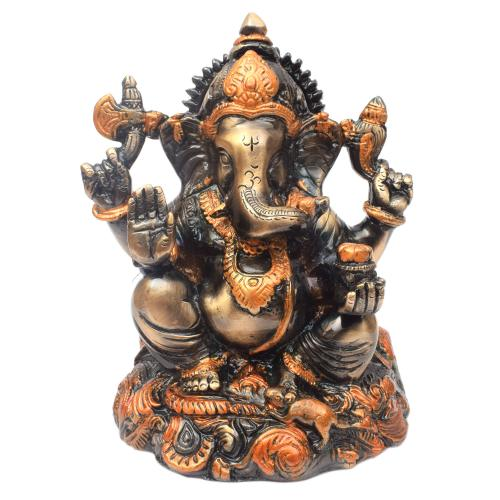 BRASS GANESHA COLOURED SITTING ON BASE