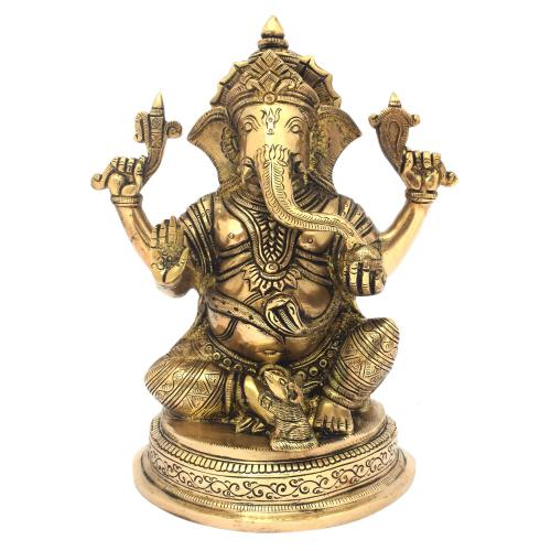 BRASS GANESHA SITTING ON BASE ANTIQUE