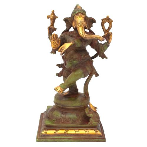 DANCING GANESHA BRASS IDOL ANTIQUE FINISH