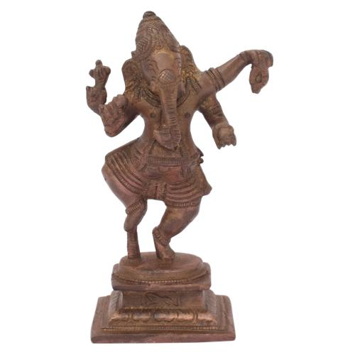 BRASS SCULPTURE GANESHA DANCING ON BASE