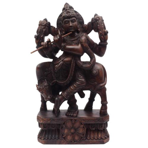 LORD KRISHNA WITH COW VAAGAI WOODEN SCULPTURES