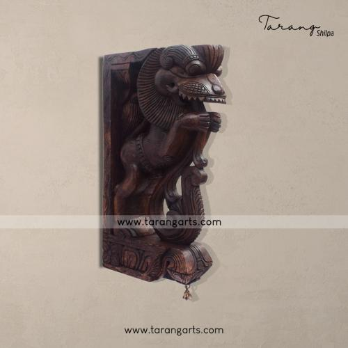 YALI VAAGAI WOODEN SCULPTURES WALL HANGING HOME DECOR HOME TEMPLE TARANG WOODEN HANDICRAFTS