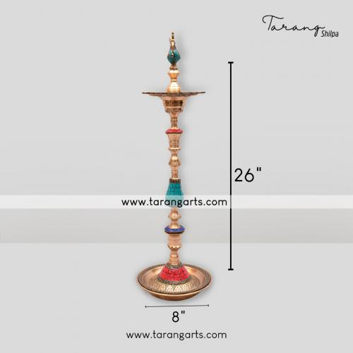 ANNA PAKSHI LAMP WITH STONE WORK BRASS IDOL BRASS SCULPTURES HOME DECOR TARANG HANDICRAFTS