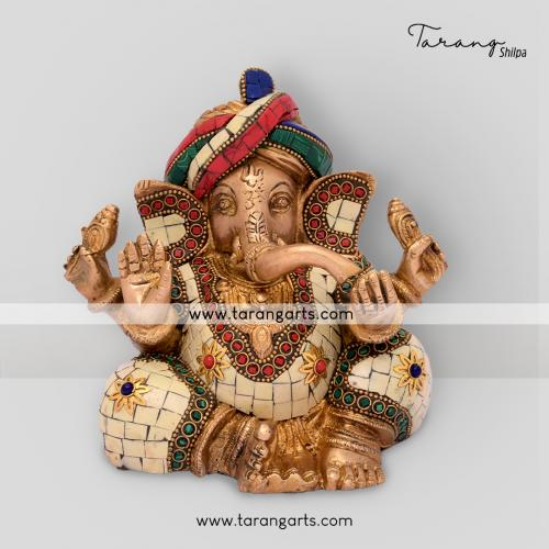 GANESHA STATUE WITH STONE WORK BRASS IDOL BRASS SCULPTURES HOME DECOR TARANG HANDICRAFTS