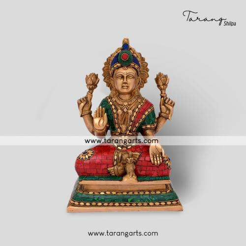 LAKSHMI STATUE WITH STONE WORK BRASS IDOL BRASS SCULPTURES HOME DECOR TARANG HANDICRAFTS