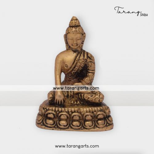BUDDHA STATUE BRASS IDOL BRASS SCULPTURES HOME DECOR TARANG HANDICRAFTS
