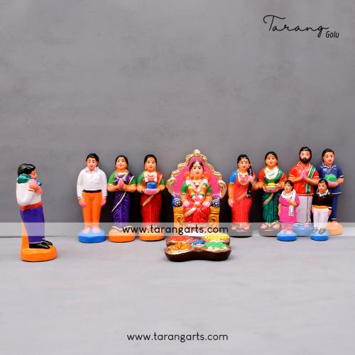 SEEMANTHAM SET OF 12 HANDMADE DUSEERA DOLL GOLU DOLL BOMMALU TARANG HANDICRAFTS