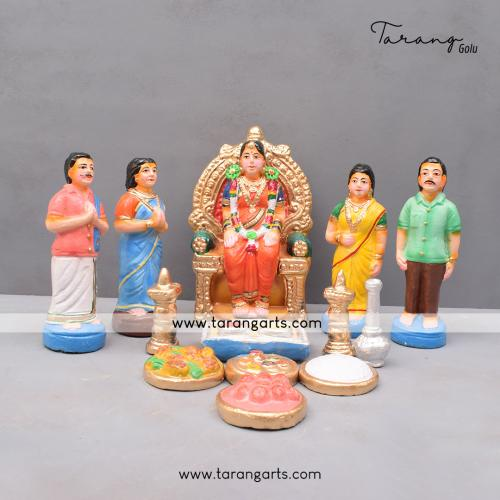 SEEMANTHAM SET OF 14 HANDMADE DUSSERAH DOLLS GOLLU DOLLS TARANG HANDICRAFTS
