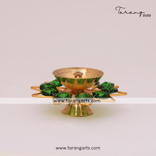 FLOWER SHAPE BRASS DIYA FANCY BRASS CRYSTAL DEEPAM OIL LAMP FOR HOME TEMPLE PUJA DECOR