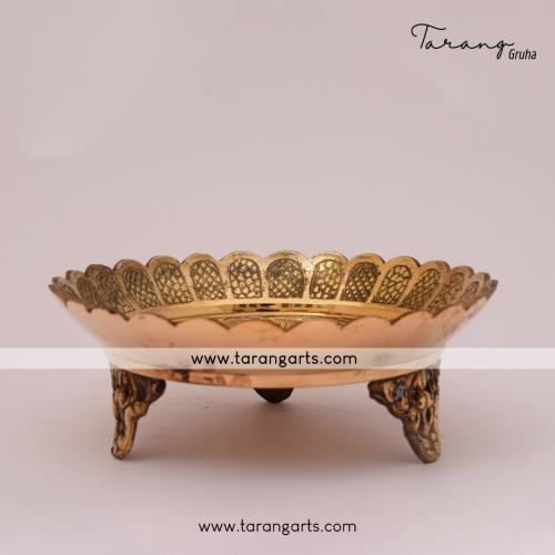 BRASS TRADITIONAL POOJA PLATE PEACOCK DESIGN  POOJA PLATE  POOJA PLATE FOR HOME TEMPLE PUJA DECOR
