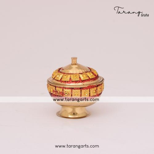 BRASS KUMKUM BOX ROUND SHAPED FOR PUJA HOME TEMPLE PUJA DECOR
