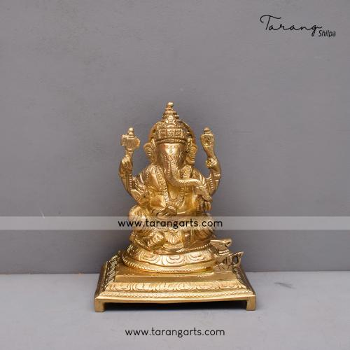 BRASS SCULPTURE GANESHA SITTING