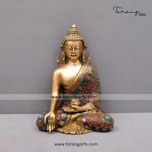 BRASS KUNDAL BUDDHA IDOL WITH STONE