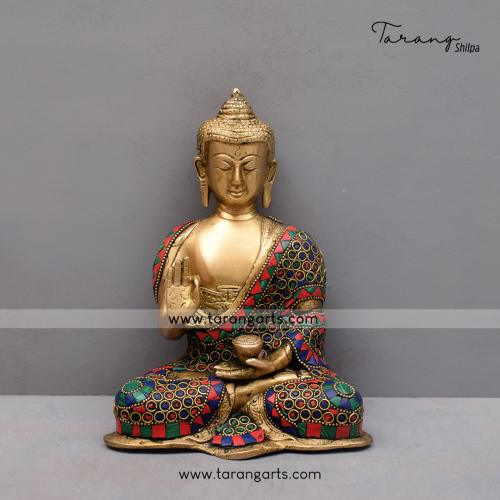 BRASS BUDDHA IDOL WITH STONE WORK