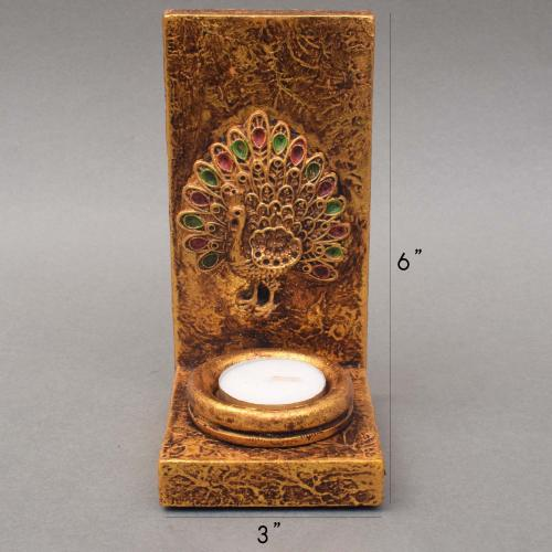 WOODEN PEACOCK CANDLE HOLDER CANDLE STAND WITH ANTIQUE FINISH