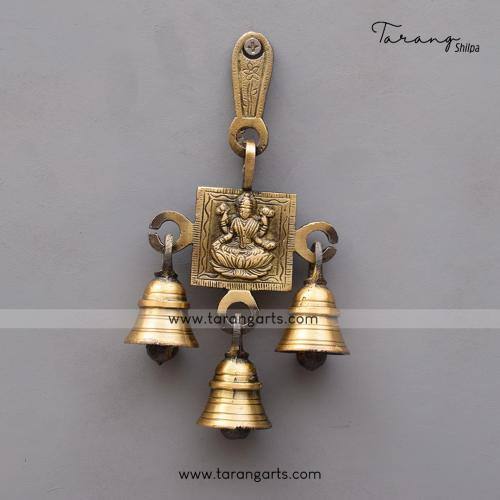 BRASS ANTIQUE LAKSHMI WALL HANGING WITH BELL