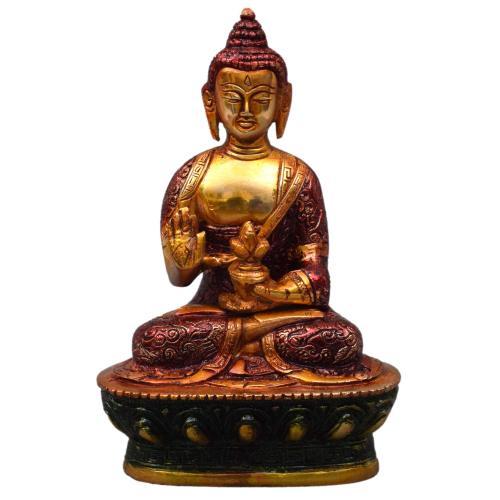 BRASS BUDDHA IDOL WITH ENAMEL PAINTING