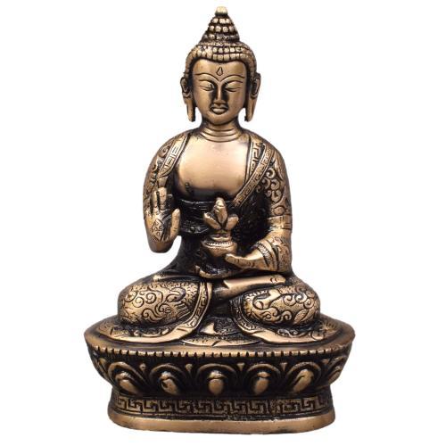 BRASS BUDDHA IDOL WITH ANTIQUE FINISH