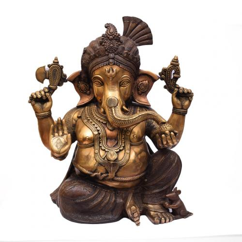 BRASS GANESHA IDOL  WITH ANTIQUE FINISH