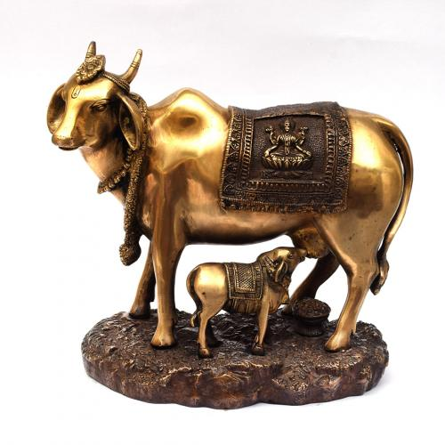 BRASS COW AND CALF IDOL WITH ANTIQUE FINISH