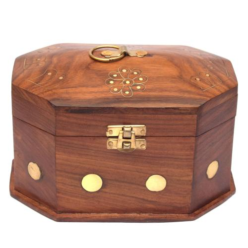 SHEESHAM WOOD JEWELLERY BOX BRASS CARVING MEDIUM