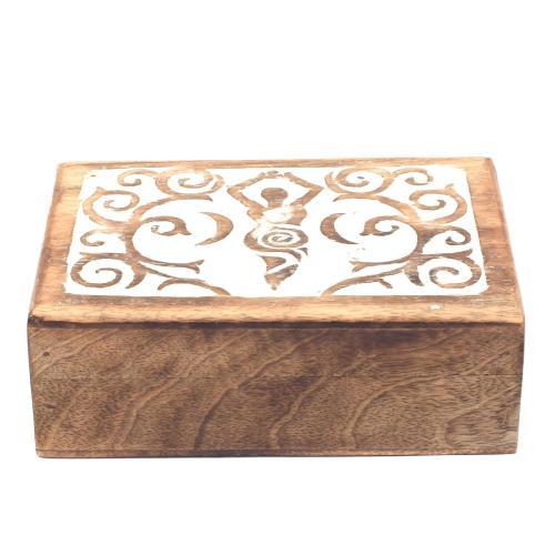 MANGO WOOD JEWELLERY BOX ANTIQUE  LADY DESIGN