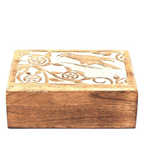 MANGO WOOD JEWELLERY BOX ANTIQUE BIRD DESIGN