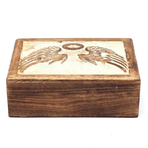 MANGO WOOD JEWELLERY BOX  ANTIQUE ANGEL WINGS DESIGN
