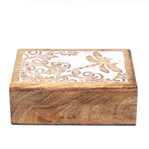 MANGO WOOD JEWELLERY BOX ANTIQUE  BUTTERFLY DESIGN