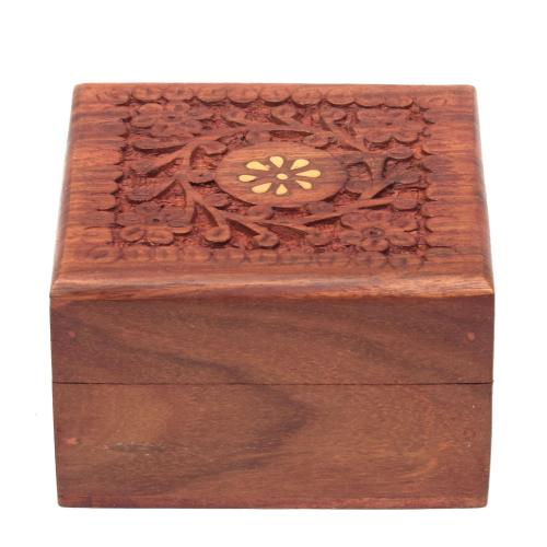 SHEESHAM WOOD CARVING JEWELLERY BOX