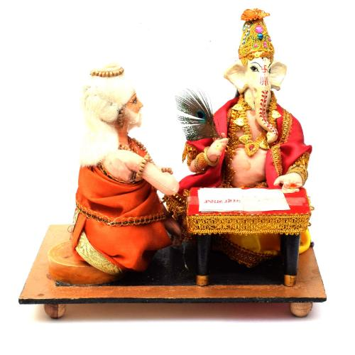 GANESHA WRITING MAHABHARAT WITH VYASAR BENGALI TRADITIONAL HANDMADE GOLU DOLLS