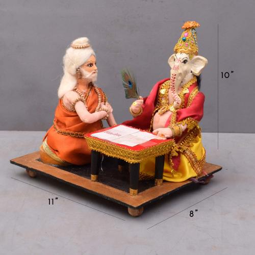 GANESHA WRITING MAHABHARAT WITH VYASAR BENGALI TRADITIONAL HANDMADE GOLU DOLLS