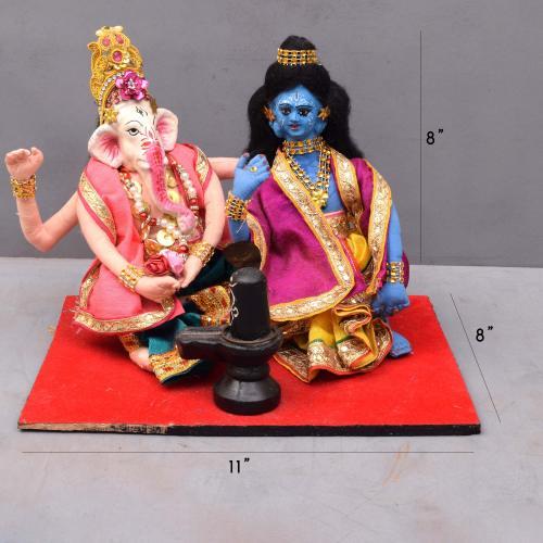 GANESHA AND KRISHNA DOING POOJA  FOR SIVALINGA BENGALI TRADITIONAL HANDMADE GOLU DOLLS