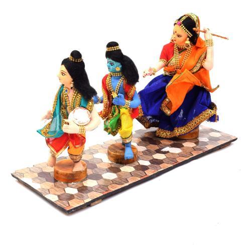 KRISHNA AND BALARAM STEALING BUTTER MAKHAN CHOR BENGALI TRADITIONAL HANDMADE GOLU DOLLS