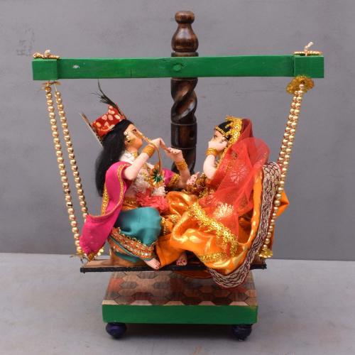 RADHA KRISHNA IN JHULA BENGALI TRADITIONAL HANDMADE GOLU DOLLS