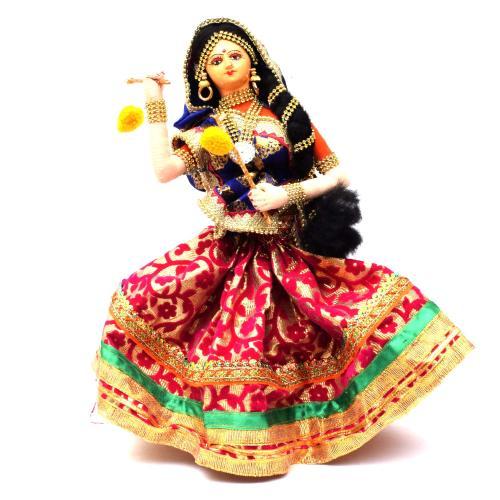 LADY DANCING DANDIYA BENGALI TRADITIONAL HANDMADE GOLU DOLLS