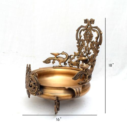 BRASS SCULPTURES HANDMADE PEACOCK URLI WITH DIYA