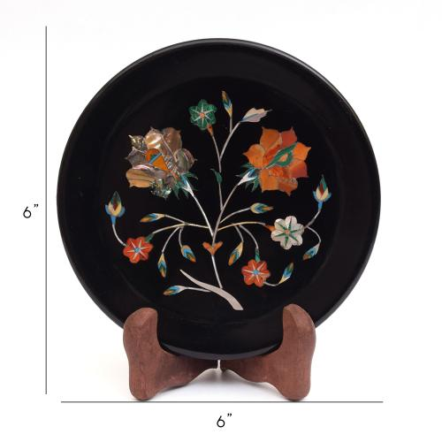 MARBLE BLACK PLATE WITH FLOWER INLAY STONE WORK