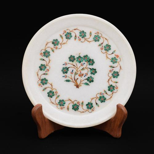 MARBLE PLATE WITH FLOWER INLAY STONE WORK