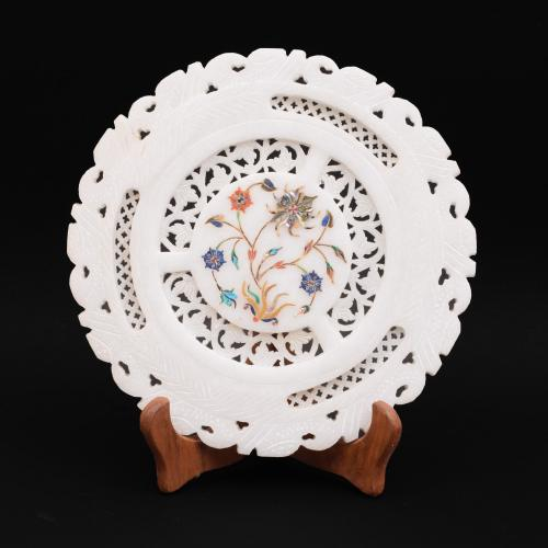 MARBLE JALI PLATE WITH INLAY STONE WORK