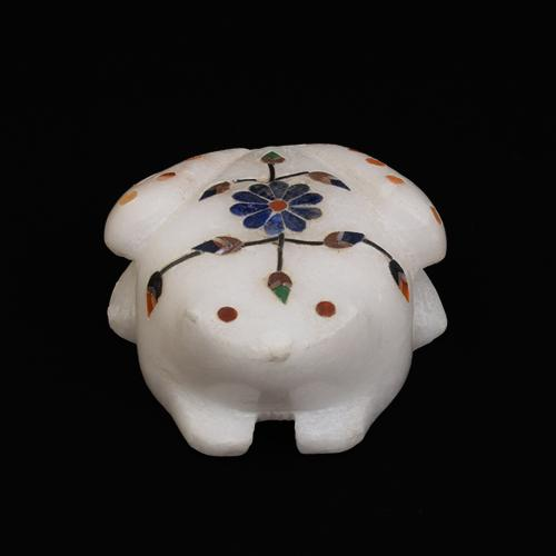 MARBLE ALABASTER FROG WITH INLAY STONE WORK