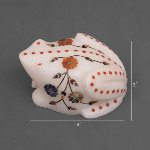 MARBLE FROG WITH  INLAY STONE WORK