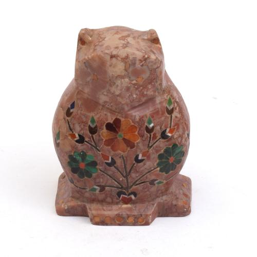 MARBEL OWL  WITH  INLAY STONE WORK