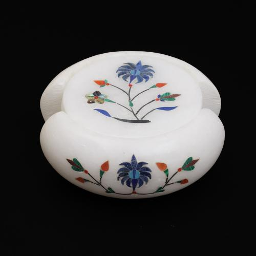 MARBLE COASTER WITH  INLAY STONE WORK SET OF 6PCS