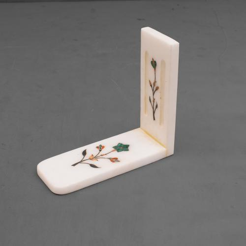 MARBLE BOOKEND WITH  INLAY STONE WORK